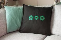 Nice pillow with machine embroidery.