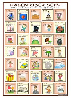 Conjugation – having or being * with 35 pictures and sentences * with solution - Worldpin. German Grammar, German Words, German Resources, Deutsch Language, Germany Language, German Language Learning, Learn German, Language Activities, Sentences
