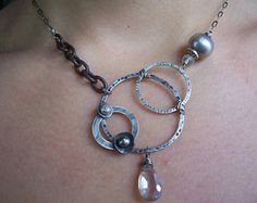 Circle Necklace, Geometric Jewelry, Mixed Metals Jewelry, Asymmetrical Necklace, Organic Industrial Jewelry.