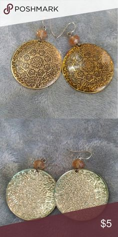 Vintage bohemian earrings Round patterned earrings covered in a gold tone resin. Jewelry Earrings
