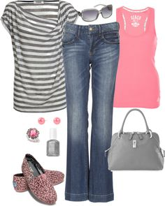 """Watermelon and Gray"" by pamnken on Polyvore"
