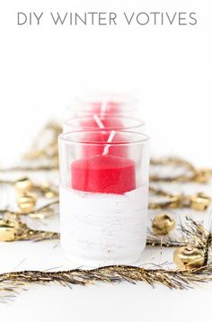 In 15 minutes you can make these diy winter votives! Easy to do and a great way to add a touch of snow to your holiday decor.