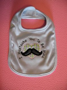 I Mustache You To Be Mine Valentines Day Boy's Baby Bib Blue