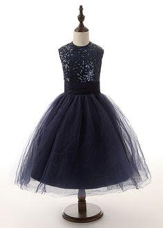 Navy Blue Tulle Girl Dress Flower girl dress by LisaTopDesign