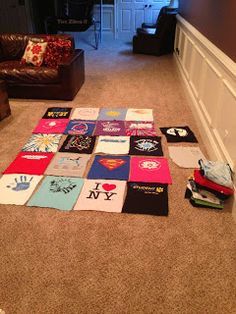 How to make a T-shirt Quilt...would be great for kids, with cartoons or animals :)