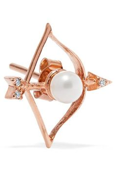 Aamaya By Priyanka - Sagittarius Rose Gold-plated, Faux Pearl And Cubic Zirconia Earring - One size