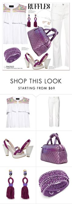 """""""Add Some Flair: Ruffled Tops and PaoloShoes"""" by spenderellastyle ❤ liked on Polyvore featuring Saloni, Nili Lotan, Oscar de la Renta, Swarovski and ruffedtops"""