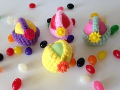 EOS Lip Balm Crochet Cozy/Holder with Flower Button Closure, Split Ring, and Lobster Clasp for Clip-On