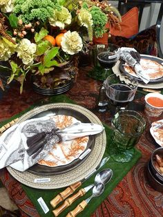 Peacock, Gloss & Glimmer at the NY Now Gift Show- They always do such beautiful merchandising. Here they show off their Autumn Harvest story with the new pumpkin colorway of their popular Country Estate pattern and the clever Antique Lace Napkin, with the Leather Tassel Napkin Ring.