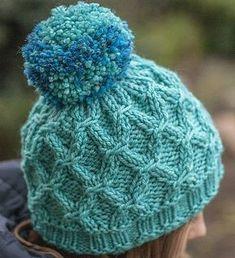 Pomponious Hat pattern by Hanna Maciejewska Kids Hats, Slip Stitch, Knitting Patterns, Hat Patterns, Knit Beanie, Turquoise, Beret, Fiber Art, Ravelry