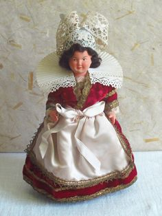 RESERVED for OLGA - 3 French Pont Aven costume doll, folk doll, vintage, Petitcollin, Philippe, celluloid