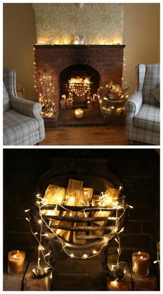 #Fairylights around a real stone #fireplace. This looks stunning and very cosy :-)