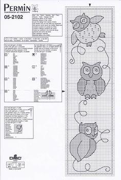 cross stitch bookmark owles