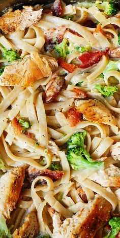 Creamy Broccoli, Chicken Breast, and Bacon Fettuccine Pasta in homemade Alfredo sauce