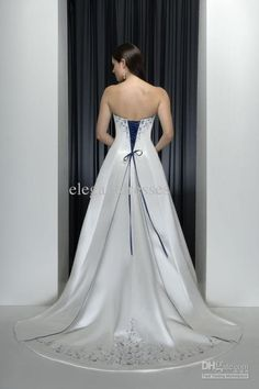 Wholesale classic style strapless with blue embroidery beads hem wedding dress wedding gowns W94, Free shipping, $120.45-131.96/Piece | DHgate