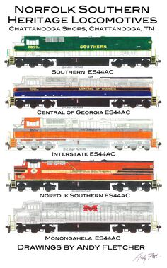 Five of the General Electric ES44AC engines were painted in the NS shops in Chattanooga, TN. The Southern heritage engine was the first engine painted in the Chattanooga Shops.