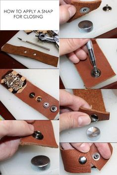 Jewelry Making DIY Restyle - Leather Cuffs Inspirational images Leather Jewelry Making, Diy Leather Bracelet, Leather Cuffs, Leather Earrings, Leather Tooling, Metal Jewelry, Silver Earrings, Jewlery, Jewelry Crafts