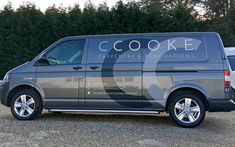 Simple and reflective van sign writing for C. Vw Transporter Van, Vw T5, Volkswagen, Vehicle Signage, Vehicle Branding, Van Signwriting, Van Signage, Car Lettering, Illuminated Signs