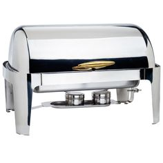 8 Qt. Supreme Full Size Roll Top Gold Trim Chafer