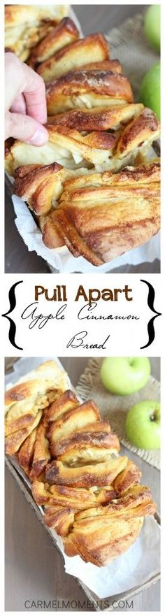Apple Cinnamon Pull Apart Bread - Delicious cinnamon layers studded with fresh apple. Perfect pull apart fun!