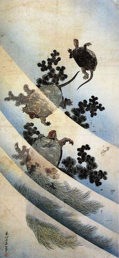"""Swimming turtles"" by Japanese artist Katsushika Hokusai. www.montableau.com"