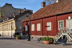 Turku- The House of Qwensill-the pharmacist-Apteekkimuseo by the river of Aura in the center.