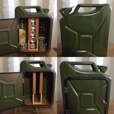 for sale is an upcycled Jerry can mini bar Made by Trong upcycling and called the Jezzy can, the mini bar is made from a new 20l Jerry can and has a hinged, non sealing lockable door with two keys It fits two glasses and will hold 5 soft drink cans, up 2 litre size mixer and large 1 litre bottles of spirit. This is made from a new Jerry can but it may still have some small marks and scratches from the transport on manufacturing process Please study the pictures carefully as they form part of…