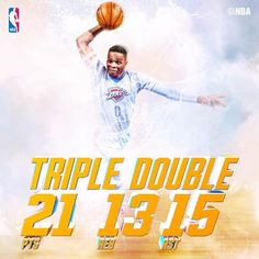 The Oklahoma City Thunder are 15-0 this season when Russell Westbrook records a triple-double!