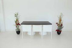 """Tisch """"IKON"""", Makassar in Kombination mit den Stühlen """"Vita"""" in weiß"""