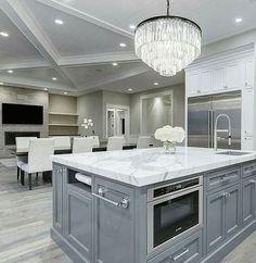 Amazing Ideas For Luxury White Kitchen Design Decor Ideas. Luxury white kitchen decor and design Luxury Kitchen Design, Best Kitchen Designs, Luxury Kitchens, Cool Kitchens, Small Kitchens, Modern Kitchens, Kitchen Designs With Islands, Contemporary Kitchens, Grey Kitchens