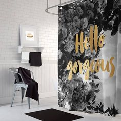 Black And White Striped Shower Curtain With Gold Typography - Hand lettered us map black and white shower curtain