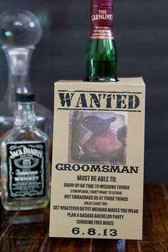 Customizable Will you be my groomsman bottle tag by megmacdesign. This is awesome for a will you be my groomsman gift