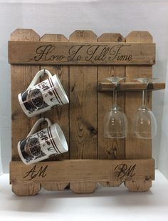 How to tell time rustic AM PM sign coffee mug by LodgeDecorNMore Wood Wine Racks, Wine Glass Rack, Coffee Wine, Coffee Mugs, Diy Wood Projects, Wood Crafts, Cafe Bar, Coffee Mug Holder, Diy Pallet Wall
