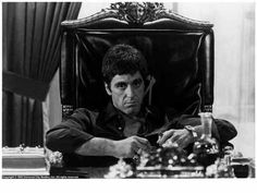 "Al Pacino in Scarface-""Say hello to my leetle friends!"""