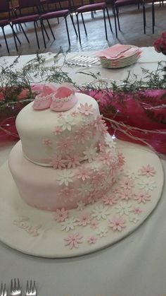 White and pink it's a girl cake! Girl Cakes, Baking, Desserts, Pink, Food, Deserts, Rose, Bakken, Hot Pink