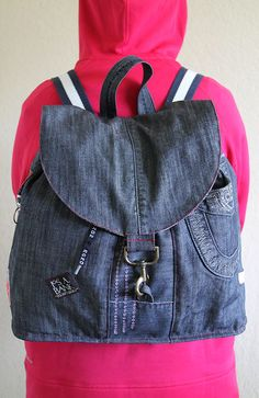 Unique denim backpack, Upcycled jeans, big drawstring backpack, hipster backpack, eco friendly recycled repurposed jean backpack by BozhinskiHandMade on Etsy https://www.etsy.com/listing/511433794/unique-denim-backpack-upcycled-jeans-big
