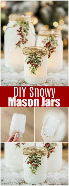 DIY Snowy Mason Jars – create faux snow-covered mason jar luminaries for the holiday season. Perfect for decorating your holiday mantle, table or porch! #diymasonjar