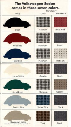 The 7 colors of the 1967 Beetle.