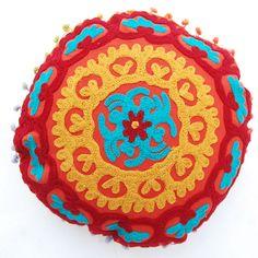 "Indian Round Suzani Cushion Cover 16"" Vintage Mandala Floor Pillow Outdoor Shams #KhushiHandicraft #ArtsCraftsMissionStyle"
