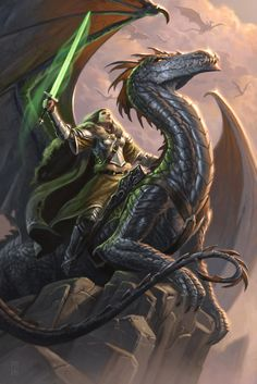 Female fighter on dragon with sword