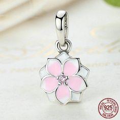 Fiore di Magnolia rosa con CZ rosa ciondolo 100% argento sterling 925 adatta misure Pandora charm Pandora bead e Braccialetto europeo SC079 di OceanBijoux su Etsy