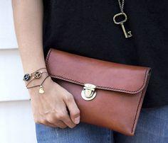 Osprey Clutch, brown leather - $60