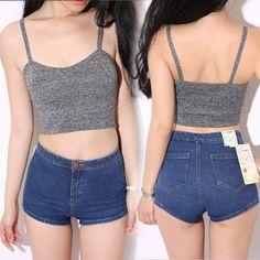 Shorts Jeans Cintura Alta Vintage Retro