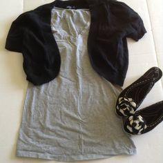 Maternity XS Soft Gray Tee Super soft and ready to showcase your precious bump.  Flattering wide v-neck.  Stretchy and longer.  Measurements taken lying flat and straight across in inches, UNSTRETCHED.  Length: 26 Bust: 16.5, Width of bottom hem: 18.  Not accepting offers. Liz Lange Tops Tees - Short Sleeve