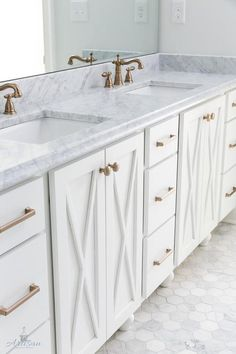 Somewhere between farmhouse and contemporary, these bathroom cabinets boast a highly sought after x design accent.
