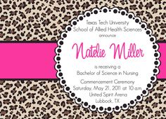 Natelie- Custom Cheetah Print Graduation Announcement - PRINTABLE INVITATION DESIGN