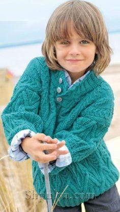 Бирюзовый узорчатый пуловер, вязаный спицами