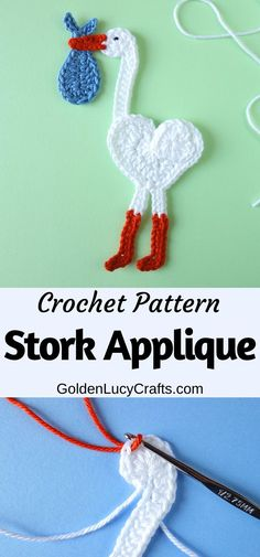 Crochet Stork applique, free crochet pattern, heart-shaped stork, baby items embellishment, baby blanket, decoration Diy Crochet Projects, Crochet Crafts, Crochet Ideas, Diy Projects, Bead Crochet, Cute Crochet, Crochet Necklace, Baby Applique, Brick Stitch