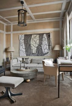 Fine art, connoisseurship, antiques, fashion, and haute couture are signatures of the Right Bank. —Diane Dorrans Saeks in Jean-Louis Deniot InteriorsGive a room a cocoon-like feeling by covering walls with light leather.