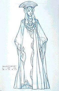 Padme' Amidala Star Wars: Episode I - The Phantom Menace. The Pre-Senate Gown. http://www.rebelshaven.com/SWFFAQ/images/presenate/presenateconcept.jpg